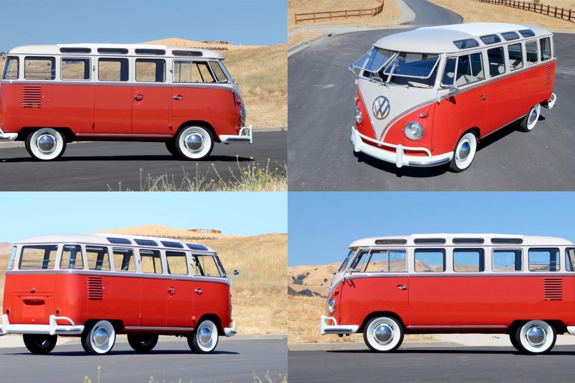 "The ""Woods Find"" 1959 Volkswagen Deluxe 23-window Samba that will go to auction by Mecum on Friday, August 18, 2017 (Lot F86). The Samba has covered just 200 miles since a no-expense-spared rotisserie restoration, won 'Best Luxury Bus' at the Vintage Volkswagen Club of America Show on April 23 and comes with 400 photos charting its redemptive journey from being abandoned in the Oregon Woods to  becoming one of the stars of the most prestigious automotive gathering on Planet Earth. Auction Description"