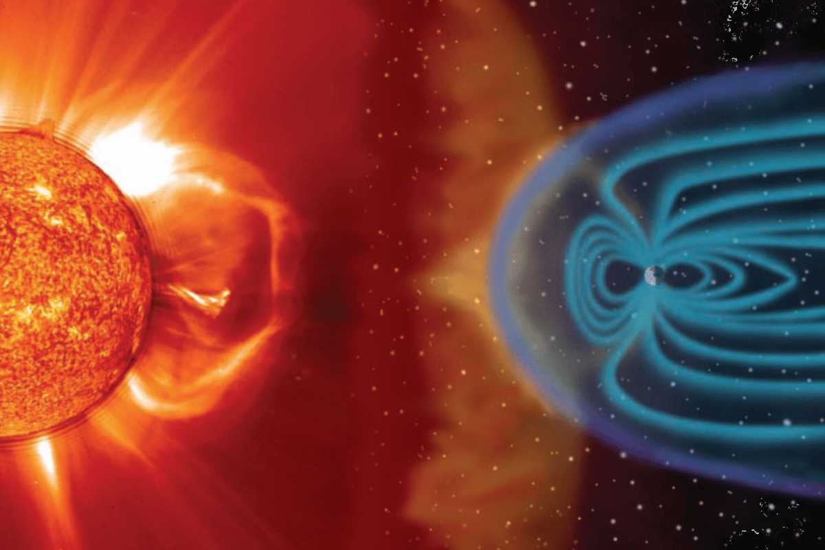 Artist's impression of the interaction of the Sun and the Earth's magnetosphere (Image: NASA)