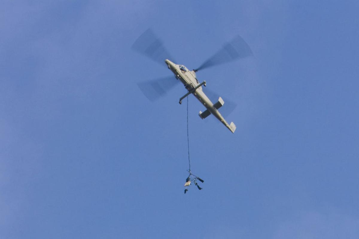 The test involved cargo airdrops from 300ft-400ft using a four-hook carousel