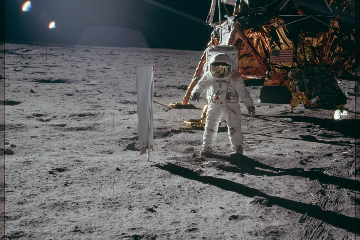 Buzz Aldrin pictured on the surface of the Moon