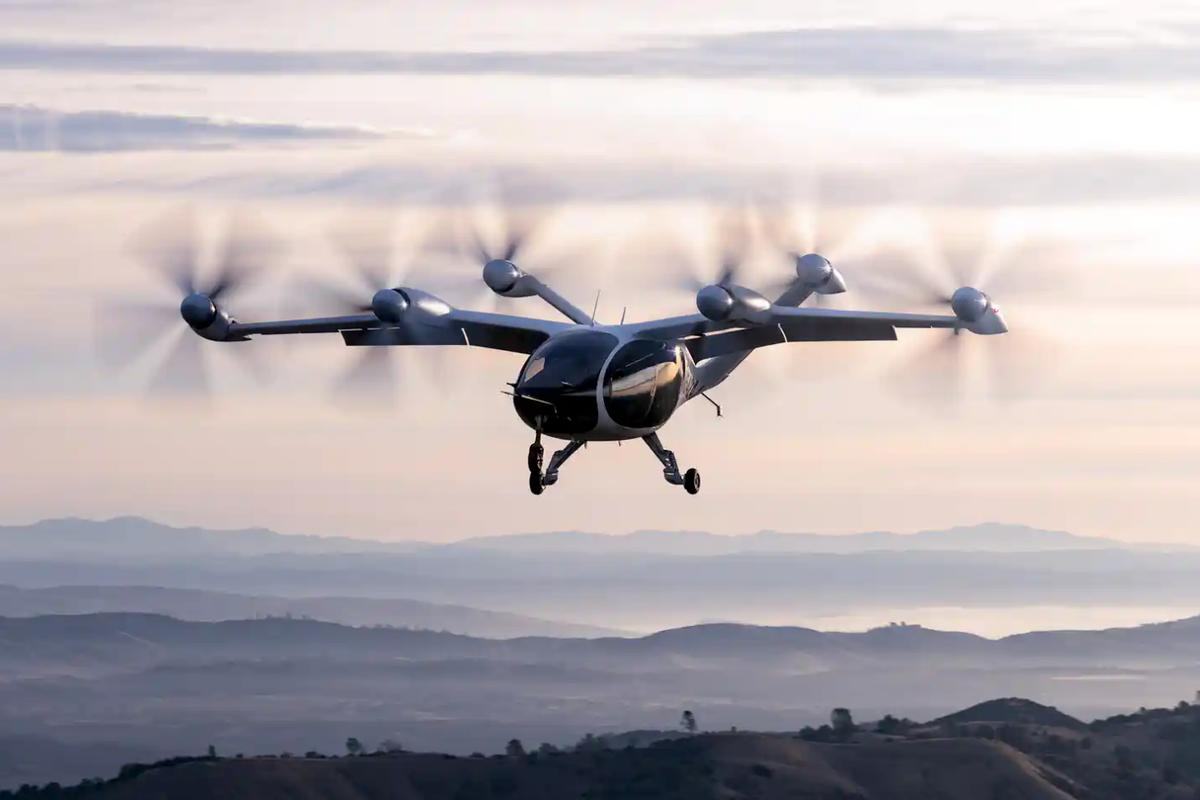 Joby Aviation's five-seat, six-rotor transitioning eVTOL air taxi in flight