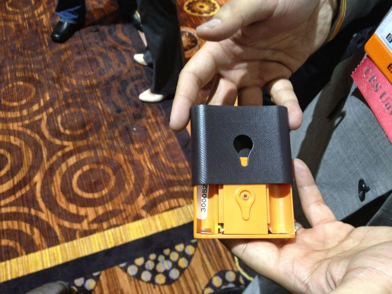 The Trakdot gadget itself is just slightly larger than a deck of cards and is powered by two AA batteries
