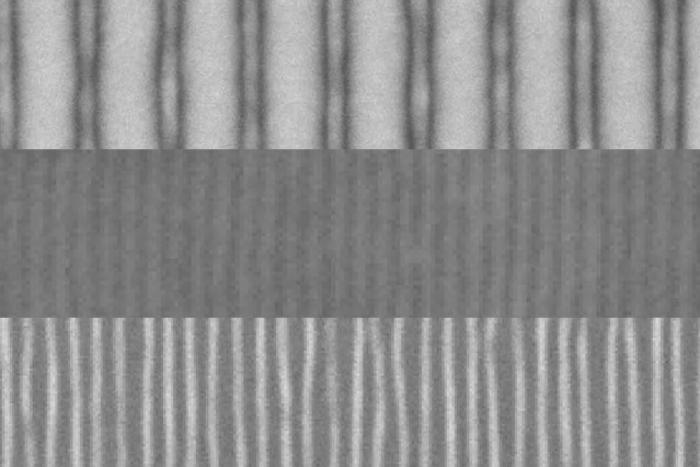 At the top are the standard lines, created with an electron beam; in the middle, the number of lines is multiplied by four, thanks to the block copolymer layer and a top protective layer; and at the bottom, the lines are exposed when the top layer is etched away