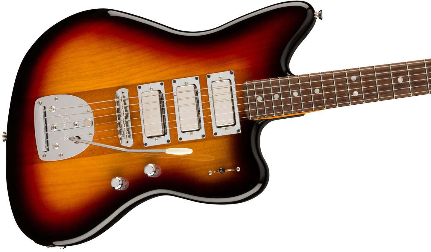 Instead of an alder body, the Spark-O-Matic Jazzmaster rocks a mahogany core flanked by chambered ash wings