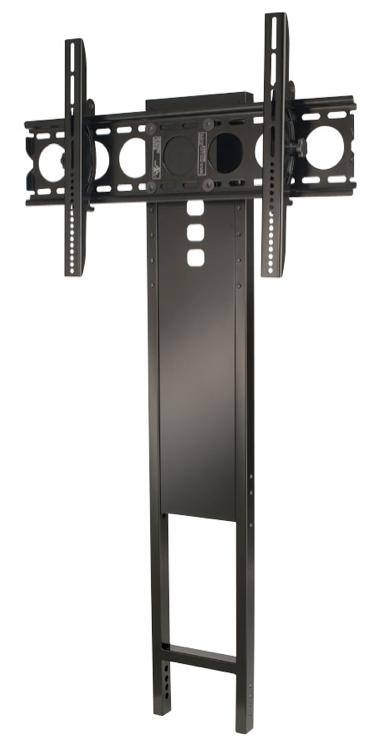 The Sanus FMK056 mount attaches directly to one of the Sanus 3-shelf AV stands, eliminating the need to drill into walls to mount the TV at the right height