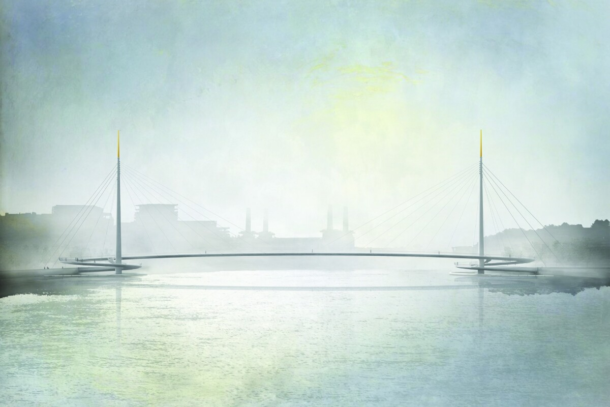 Bystrup's Nine Elms Bridge will be central London's first car-free crossing for cyclists and pedestrians, if it is constructed
