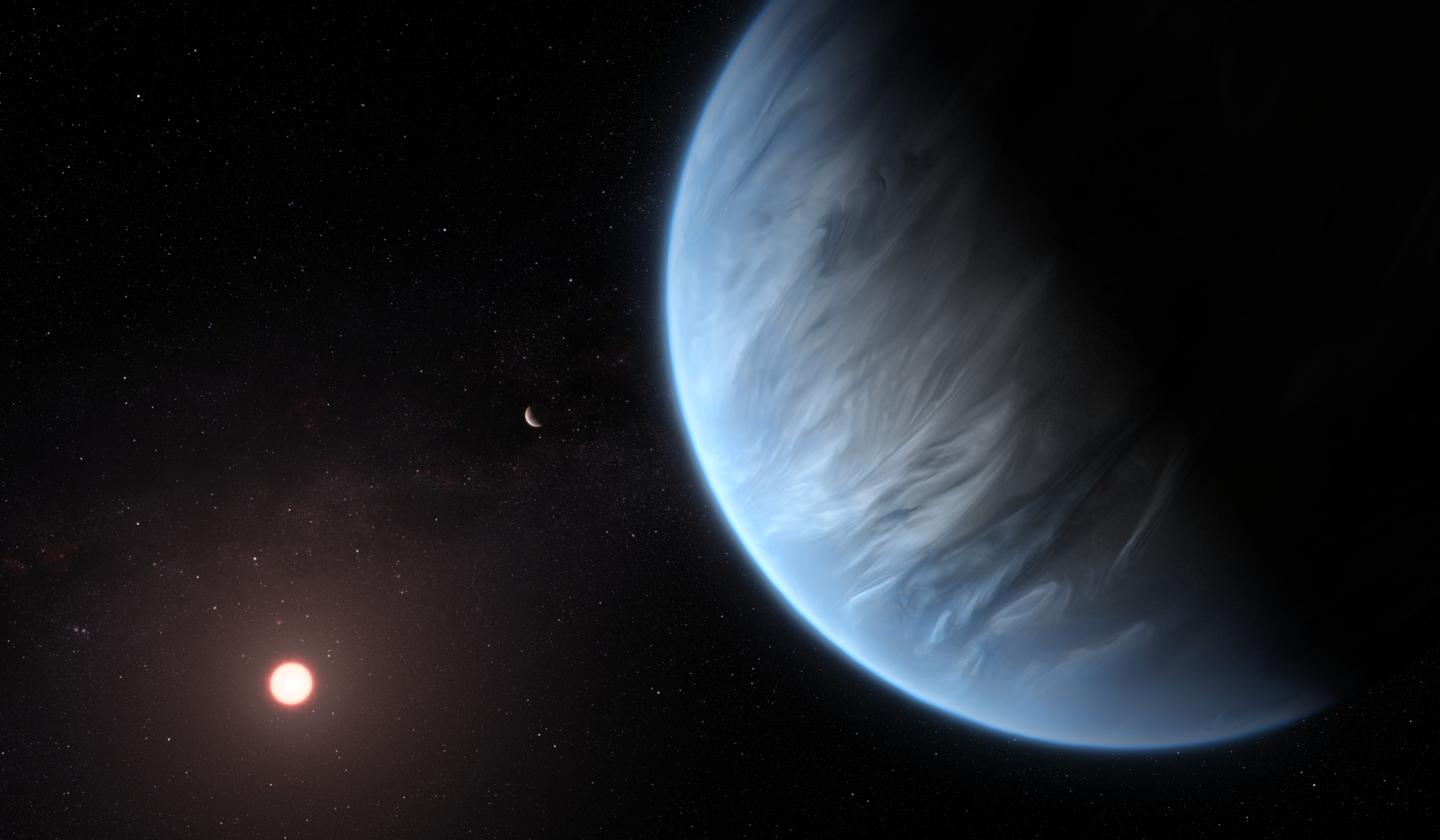 This artist's impression shows K2-18b, a potentially habitable exoplanet that has now been found to have water vapor in its atmosphere
