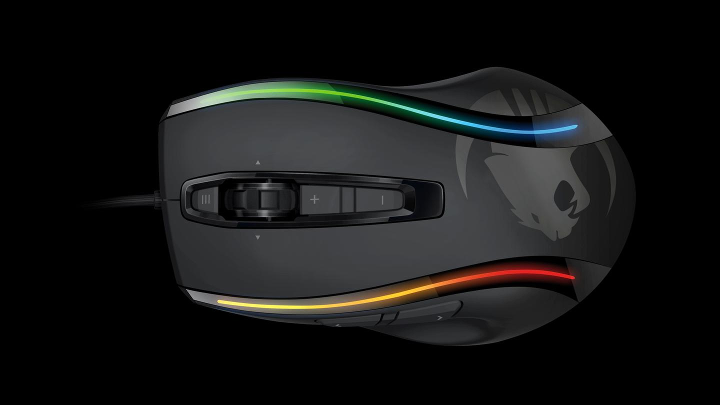 Along the back of the mouse are some funky, curvy enhanced lightpipes where four multicolor LEDs can be configured to light up, alternate or pulsate to give users eye-catching light show effects