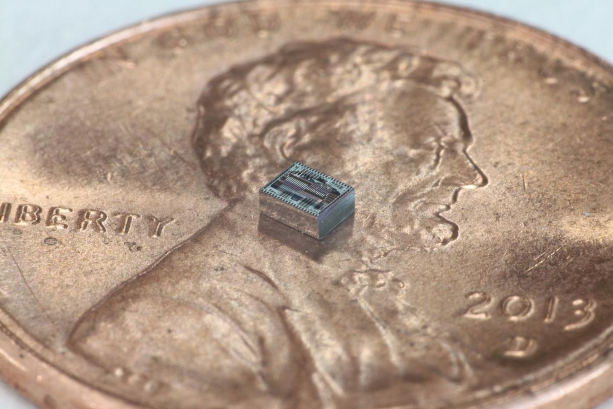 Caltech researchers have used an ultra-thin optical phased array chip (pictured on a penny for scale) to create a lensless camera