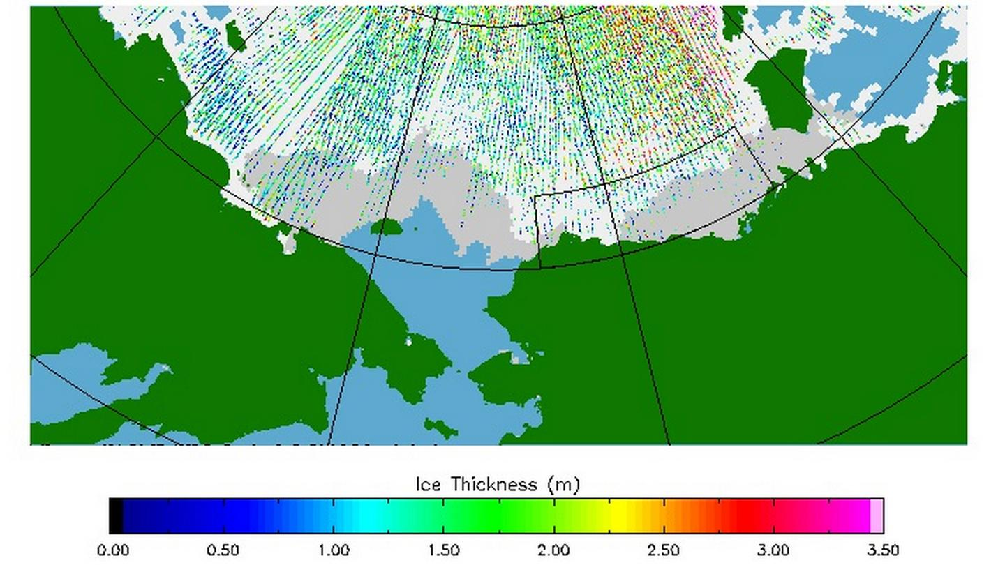 A map of Arctic ice thickness for operational purposes (Image: ESA)