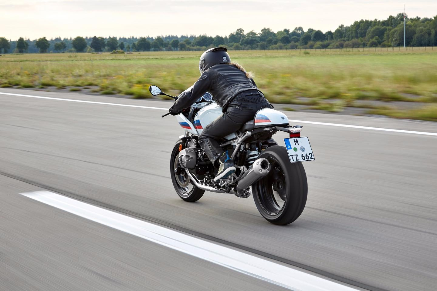 The 2017 BMW R nineT Racer in action