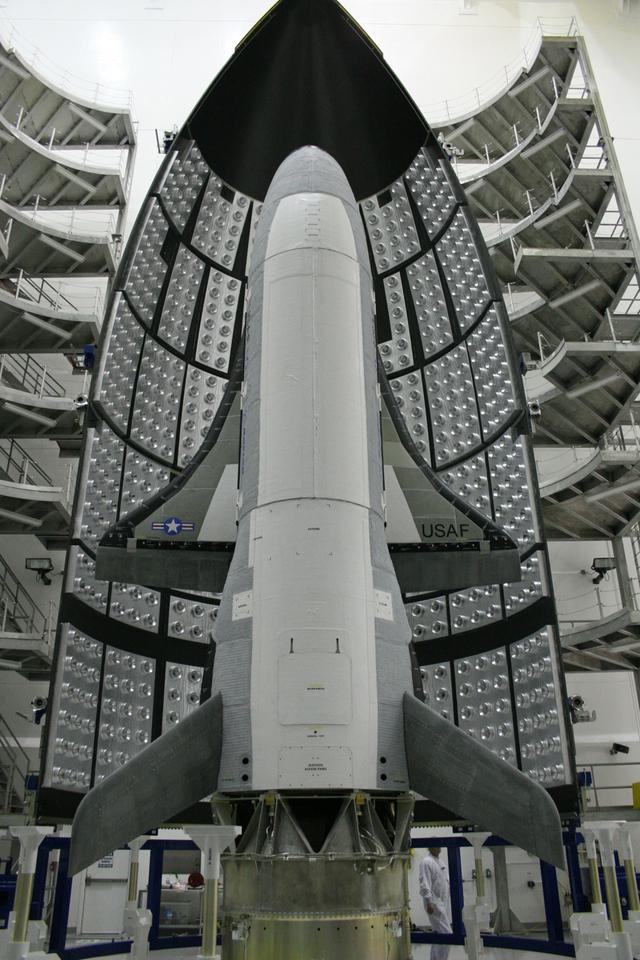 The X-37B before its launch in April (Boeing photo)