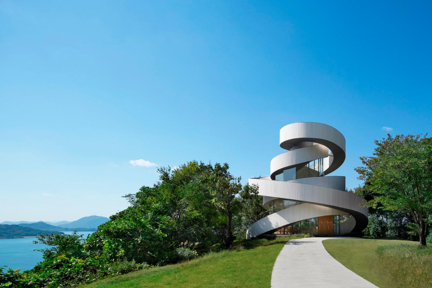 The Ribbon Chapel is a graceful and sculptural wedding chapel