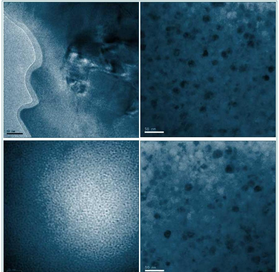 Transmission electron microscopy image showing different levels of crystal structures embedded in the amorphous matrix of the alloy