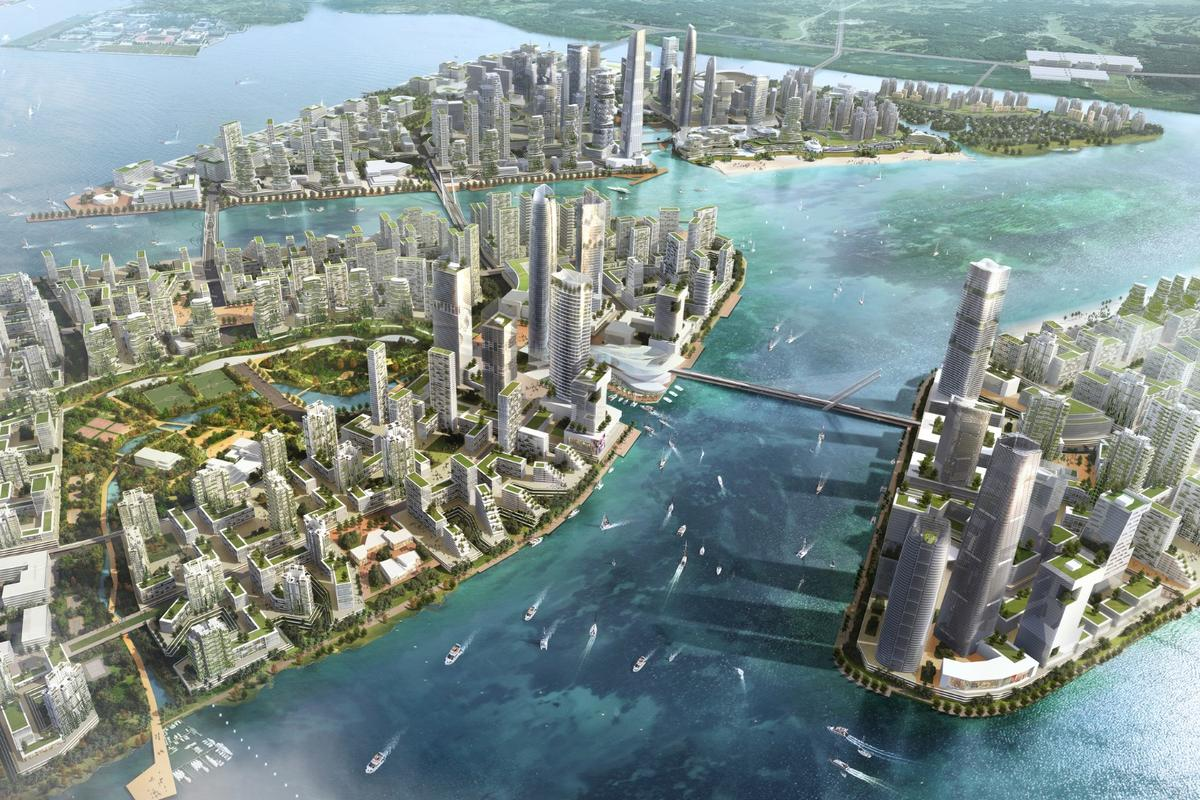 The development spans over 1,386 hectares (3,424 acres) and is expected to take over 20 years to complete