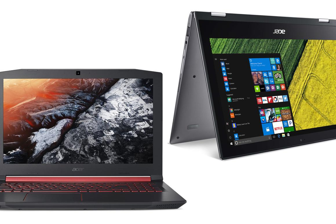 Acer has announced two new notebook lines: the Nitro 5 (left), an entry-level series of portable gaming rigs, and  the Spin 1 (right), for creative work on the go
