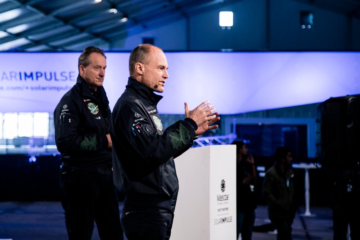 Bertrand Piccard and André Borschberg announcing the route for Si2's historic around-the-world flight