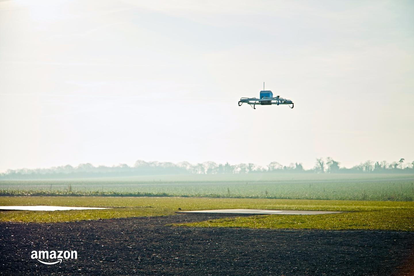 The drones being used for the Amazon Prime Air UK trial are electrically powered, fully autonomous and guided by GPS