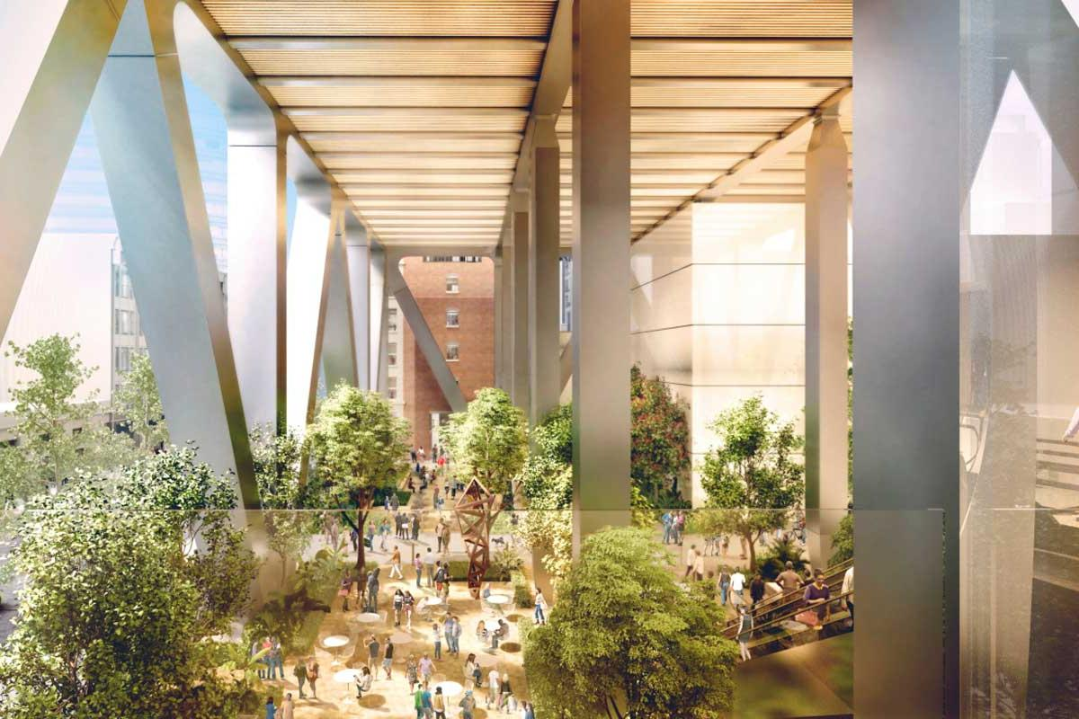 The towers will be raised to create a large covered space open to the public that includes shops, cafes, art installations, and green areas