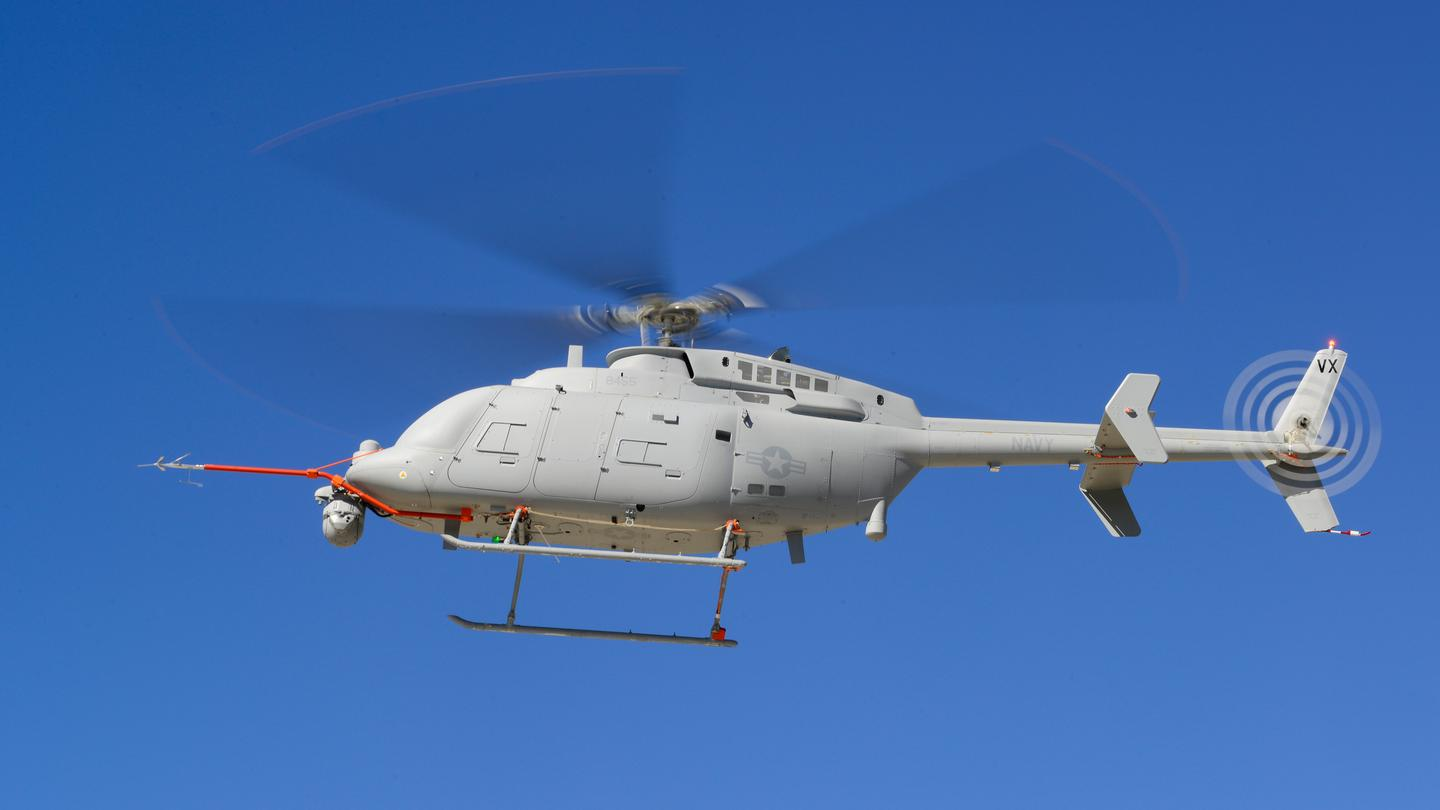 The MQ-8C Fire Scout unmanned helicopter takes to the air for the first time at Naval Base Ventura County (NBVC), Point Mugu, California (Photo: Alan Radecki/Northrop Grumman)