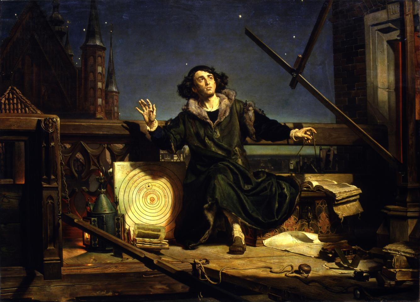 Astronomer Copernicus, or Conversations with God (Polish: Astronom Kopernik, czyli rozmowa z Bogiem) is a painting by the Polish artist Jan Matejko completed in 1873, in the collection of the Jagiellonian University, Kraków. It depicts Nicolaus Copernicus observing the heavens from a balcony in a tower with the cathedral in Frombork in the background.