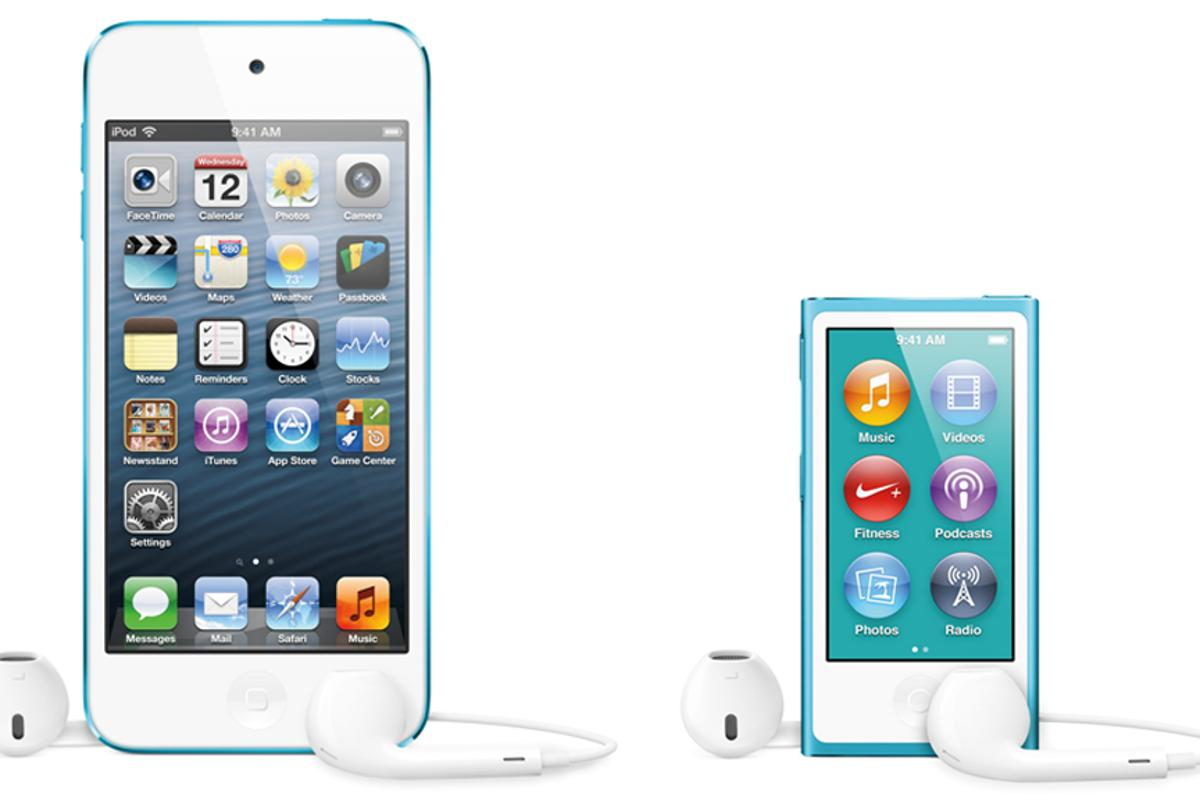 The fifth-generation iPod touch and seventh-generation iPod nano unveiled by Apple