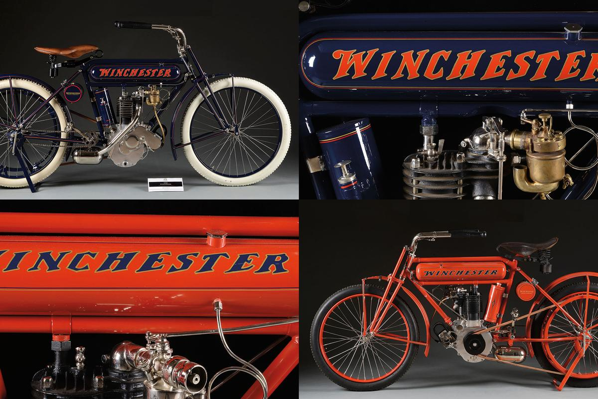 Two of the rarest and most valuable motorcycles in the world are going to public auction next month but because they were made by Winchester Repeating Arms Company, they're being auctioned by the world's foremost firearms auction house, James D. Julia