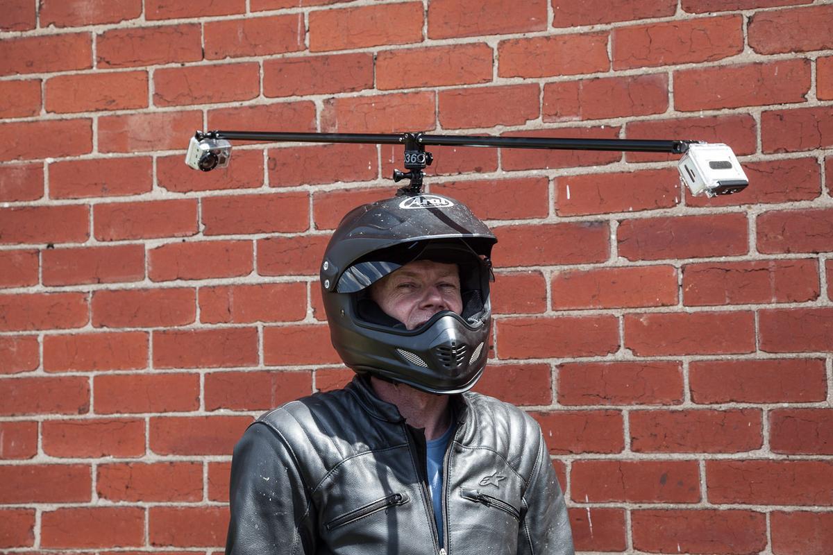 Noel McKeegan models the Go360 action camera mount