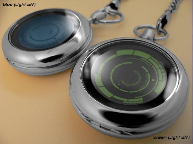 Kisai Rogue Touch Pocket Watch comes with touchscreen-based hybrid LCD/LED interface, capable of displaying dual timezones