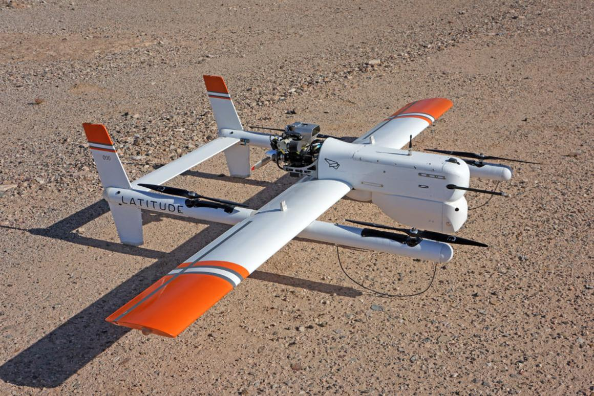 The HQ-40 drone can take off and land vertically, but transitions to fixed-wing flight while cruising