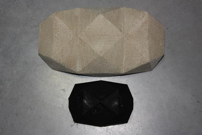 A mock-up of the BIG Turtle Shell next to the original