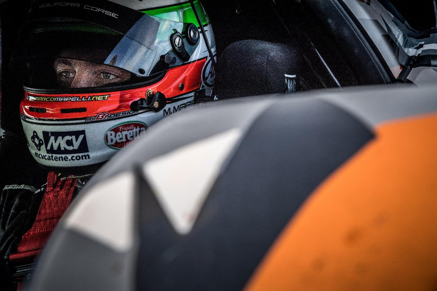 Suited for his run, Mapelli prepares to take the Aventador SVJonto the Nurburgring