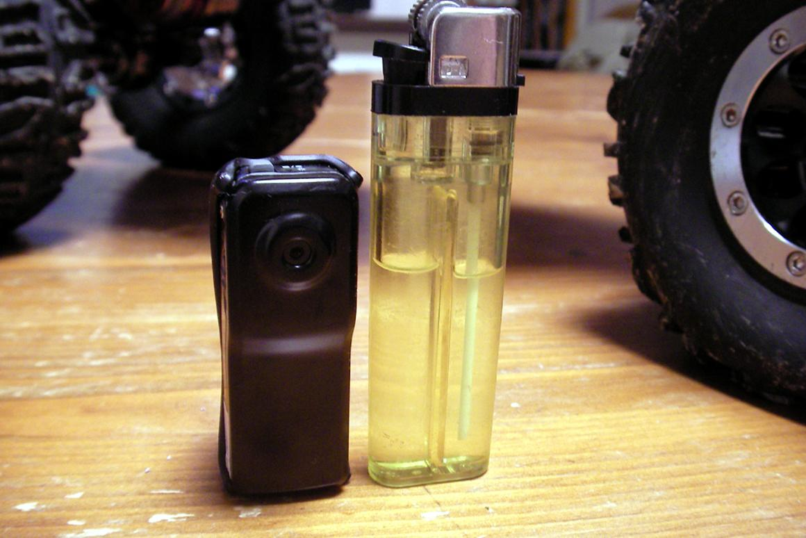 Smaller than a BIC lighter, and just about as cheap: the MD80 mini video camera/helmet cam. Photo: RC RockCrawler.