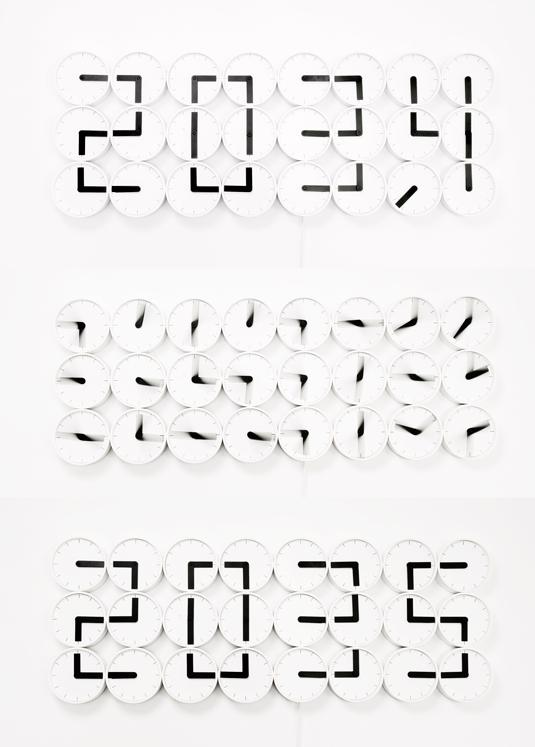 The Clock Clock from Humans Since 1982 in action: showing 20:34, 20:35, and the transition between the two