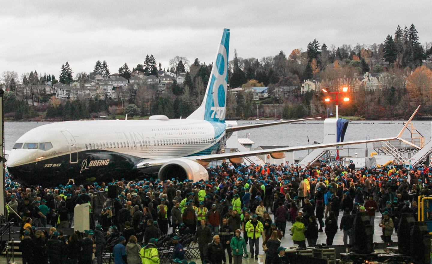 The 737 MAX 8 was presented to Boeing employees on Tuesday (Dec. 8)