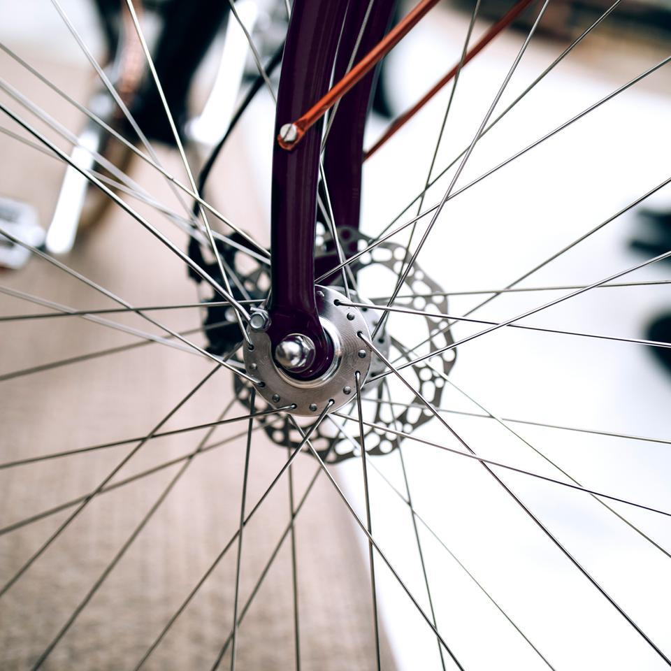 The Re:cycle bike features mechanical disc brakes