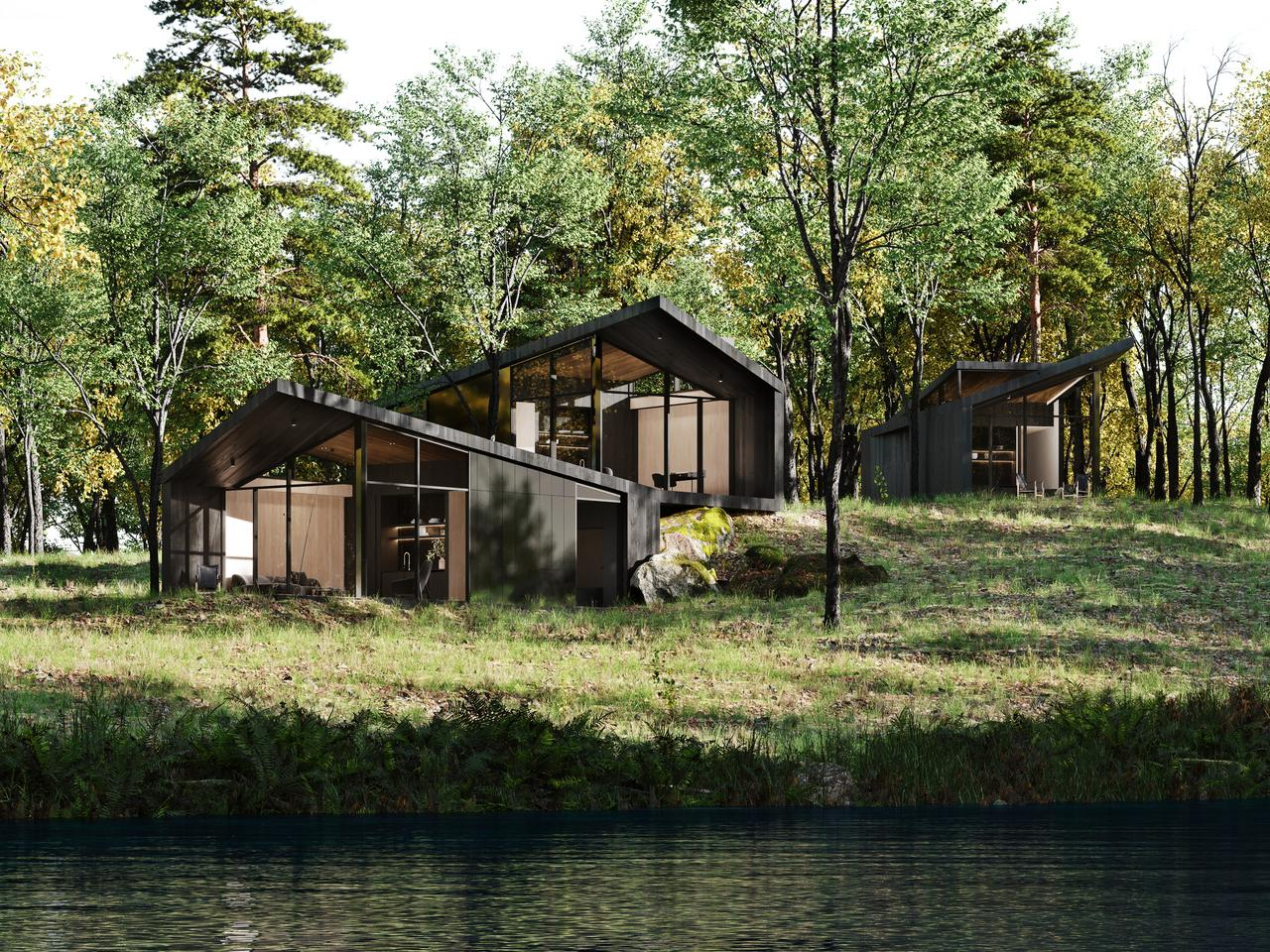 Sylvan Rock's three guest houses will be scattered among the home's rolling grounds