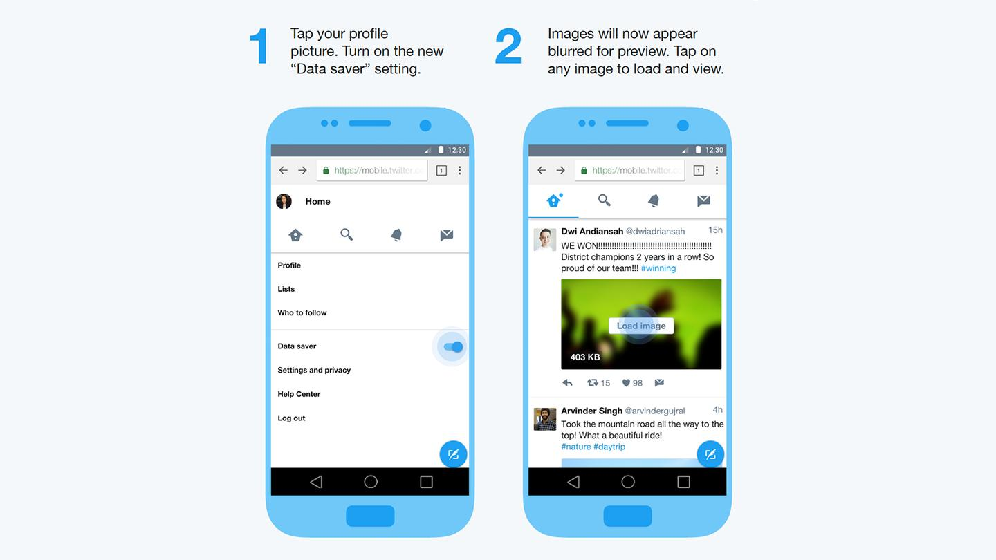 How to enact the data savermode on Twitter Lite