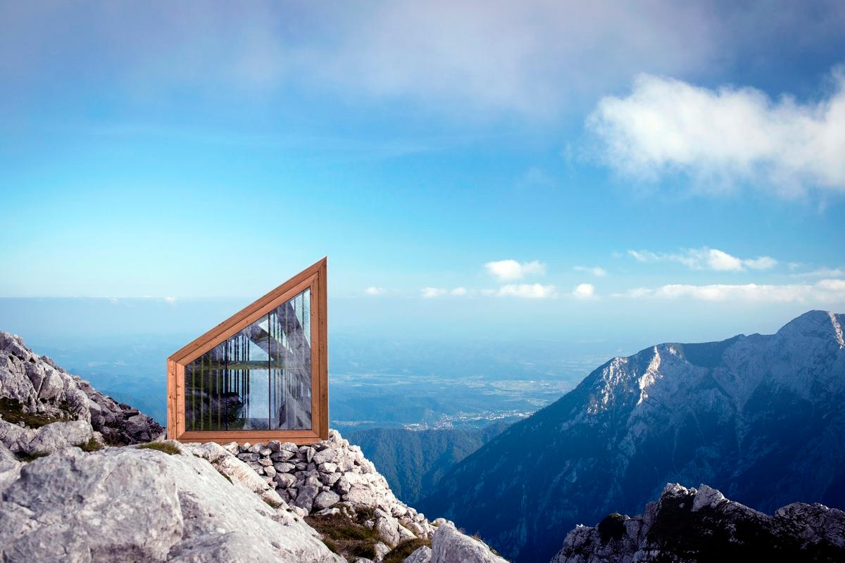 The Mount Skuta alpine shelter designed by Slovenian architectural firm OFIS, AKT II engineers and design students from Harvard Graduate School of Design