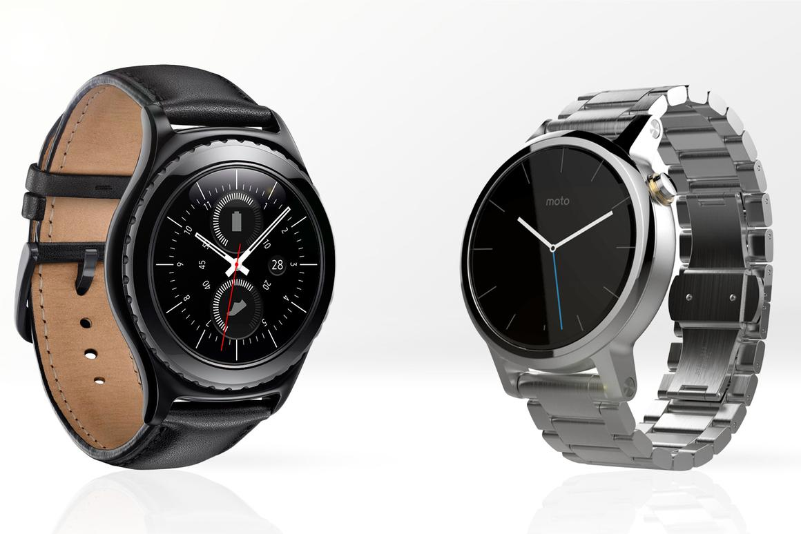 Gizmag compares the features and specs of the new Samsung Gear S2 (left) and 2nd-gen Moto 360