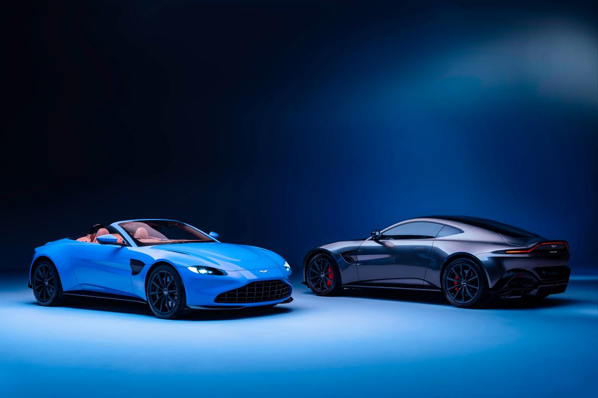 The Aston Martin Vantage Roadster (left) joins the Vantage Coupe in the company's supercar lineup