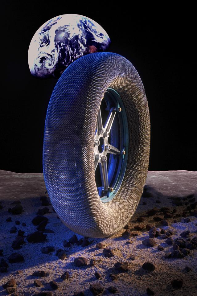 The puncture-proof Spring Tire has been designed for use on the Moon