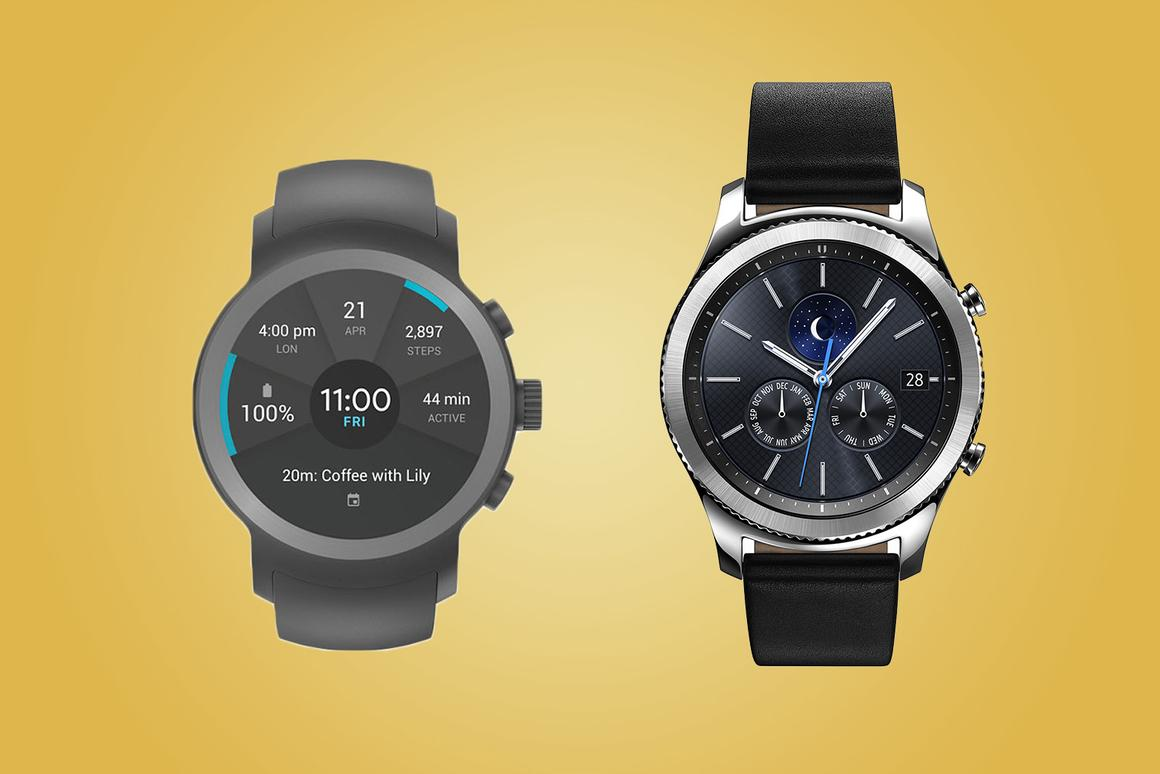 New Atlas compares the features and specs of the LG Watch Sport (left) and Samsung Gear S3