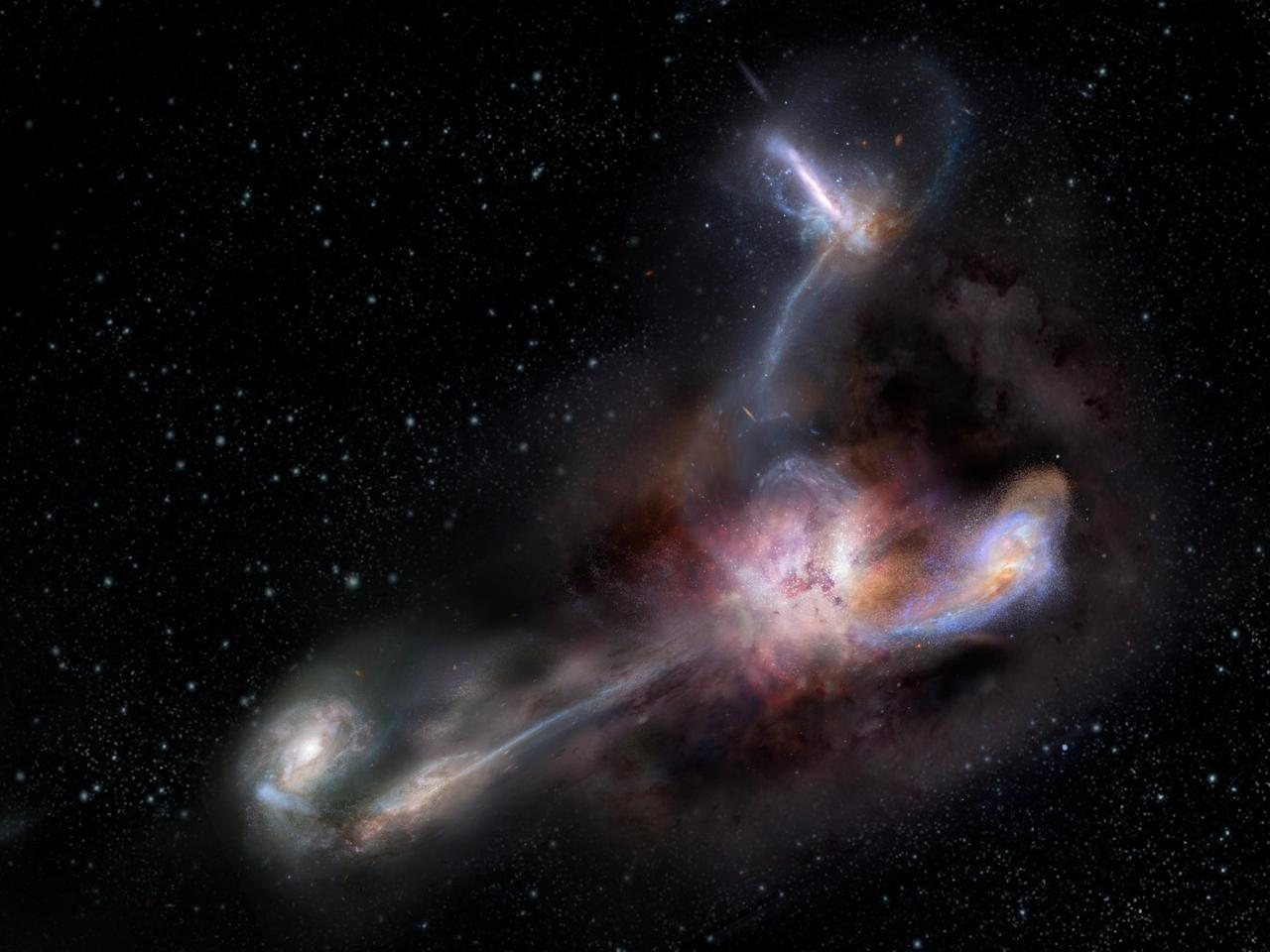 An artist's rendition of W2246-0526, the brightest-known galaxythat is cannibalizing three neighboring galaxies