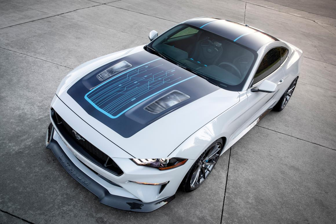 No wheel motors here — the Mustang Lithium carries its electric motor under the specially designed hood