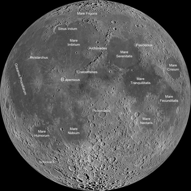 Lunar map showing the major features of the Moon's surface (Photo: NASA)