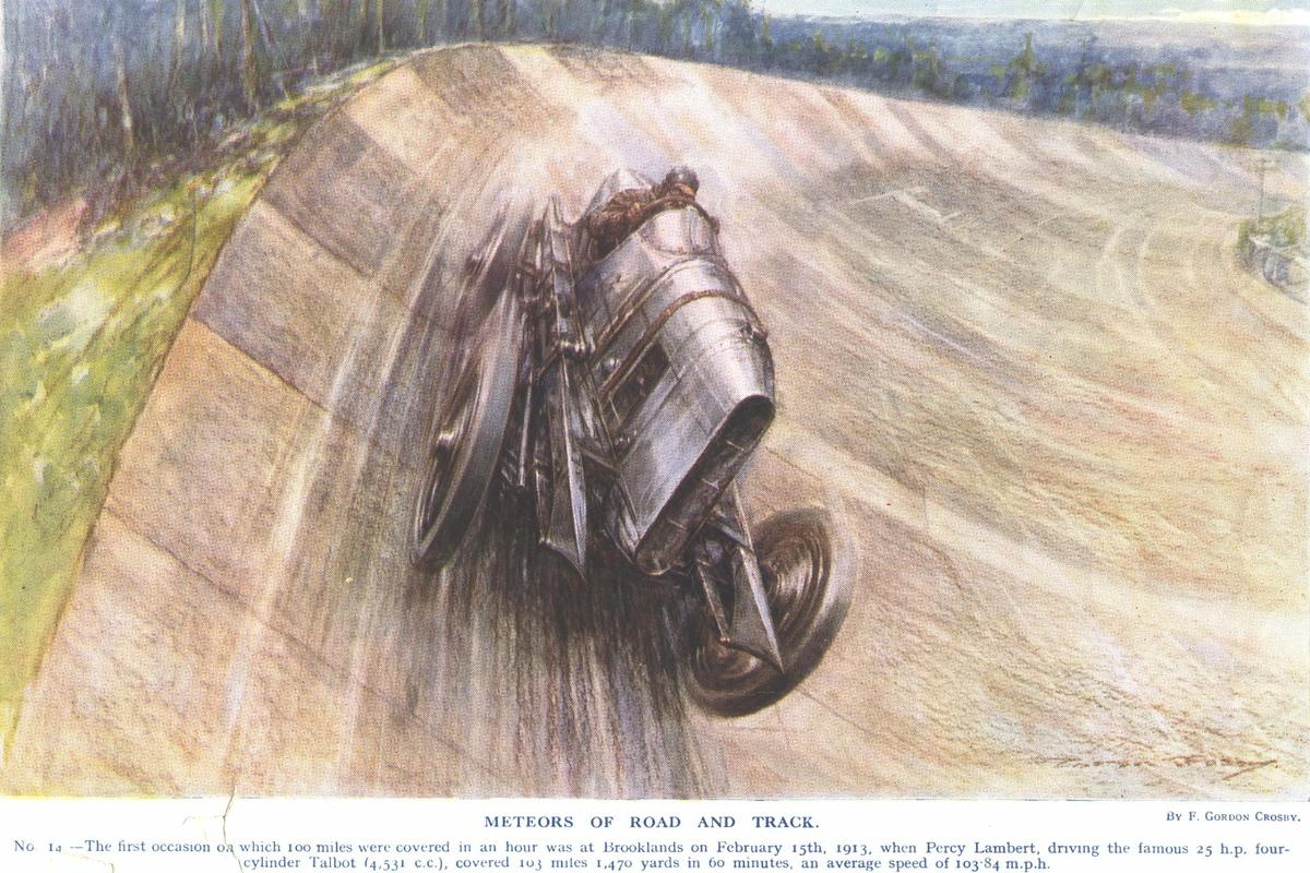 The first person to achieve 100 miles in an hour was Percy Lambert, on 15 February 1913, driving a 4.5 liter sidevalve Talbot reportedly producing 105 bhp at 2,500 rpm