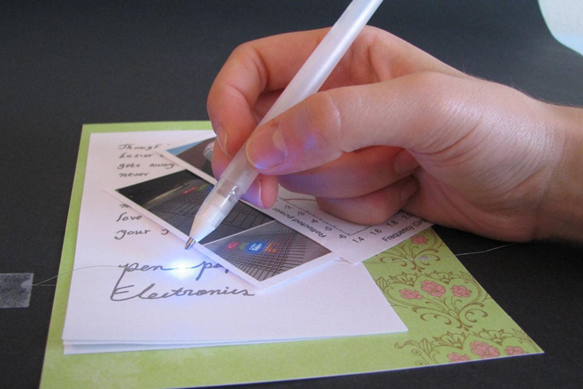 The silver pen can write electric circuits and interconnects directly on paper and other surfaces (Image: Bok Yeop Ahn)