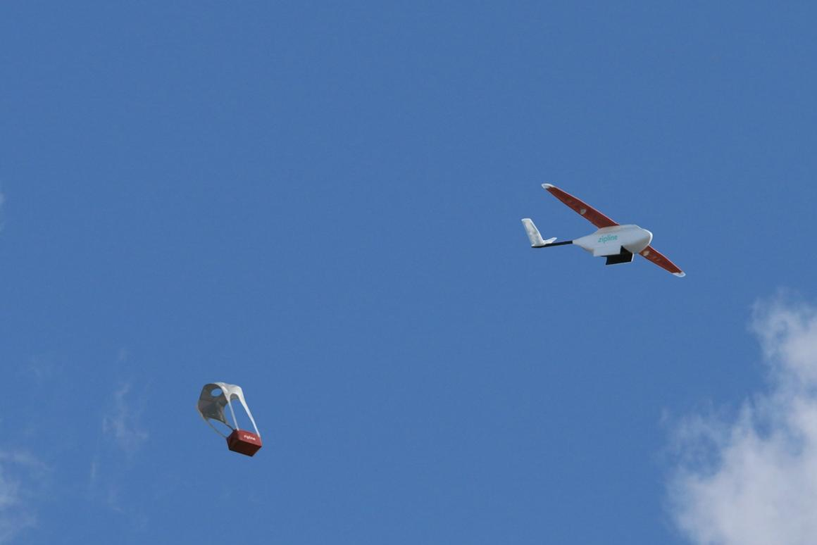 When the drone reaches its destination, its payload is released over a predetermined areaand is parachuteddown to the ground