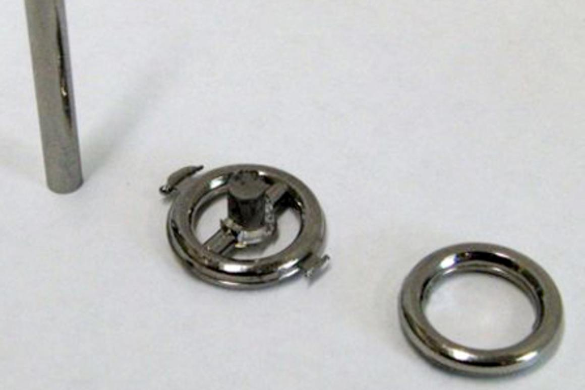 A metallic glass rod before heating and molding (left); a molded metallic glass part (middle); the final product with its excess material trimmed off (right) (Photo: Marios D. Demetriou)